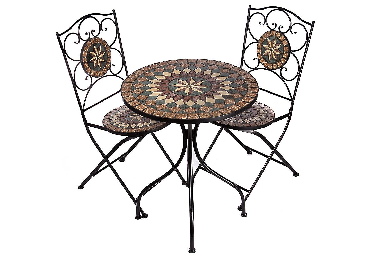 Hochwertiges aufwendig gearbeitetes Mosaik Tisch Set, NA1514-B33 + 32 stabiles Gartenmöbel Set, Balkonset, Bistroset, Schweres beschichtetes Metall, Wetterfest, Tisch und 2 Stühle online bestellen