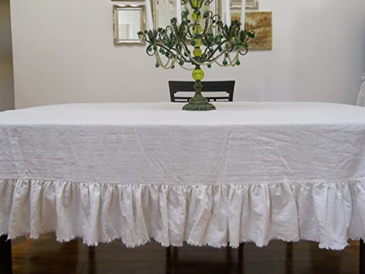 Off White Linen Table Cloth with Frayed Ruffle by Debbie's Porch