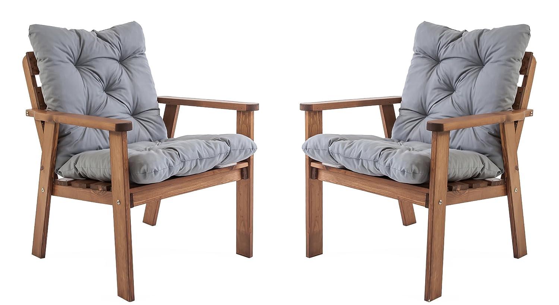 Ambientehome Gartensessel Loungesessel Sessel Gartenstuhl Massivholz inkl. Kissen HANKO, braun, 2-teiliges Set günstig