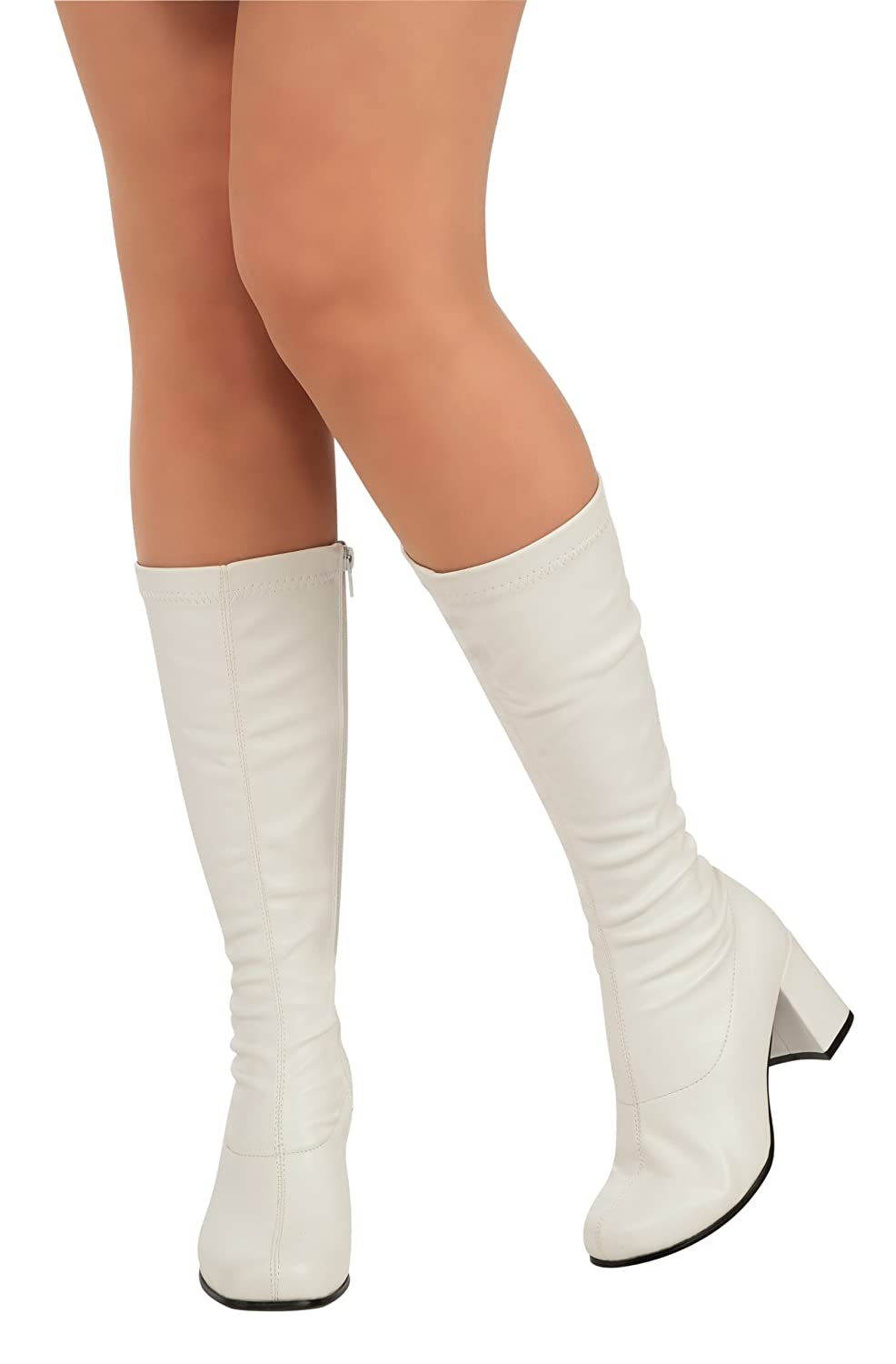 Perfect  GOGO Women39s White Patent Costume Block Heel Knee High Boots  EBay