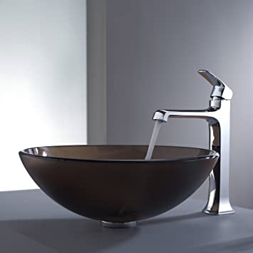 Kraus C-GV-103FR-12mm-15200CH Frosted Brown Glass Vessel Sink and Decorum Faucet Chrome