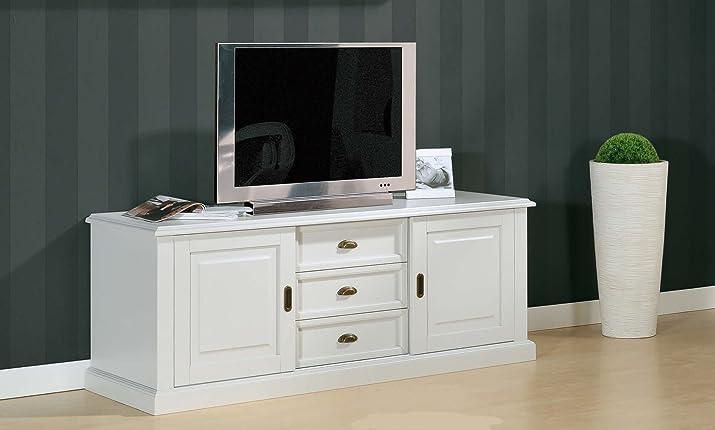 Mobile basso credenza porta tv portatv 2 porte 3 cassetti legno arte povera