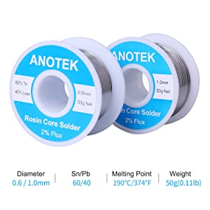 ANOTEK 60/40 Solder Wire Tin Lead Rosin Core, 0.6mm and 1.0mm Solder Wire with Rosin for Electrical Soldering and DIY(0.6mm and 1.0mm/ 50g)