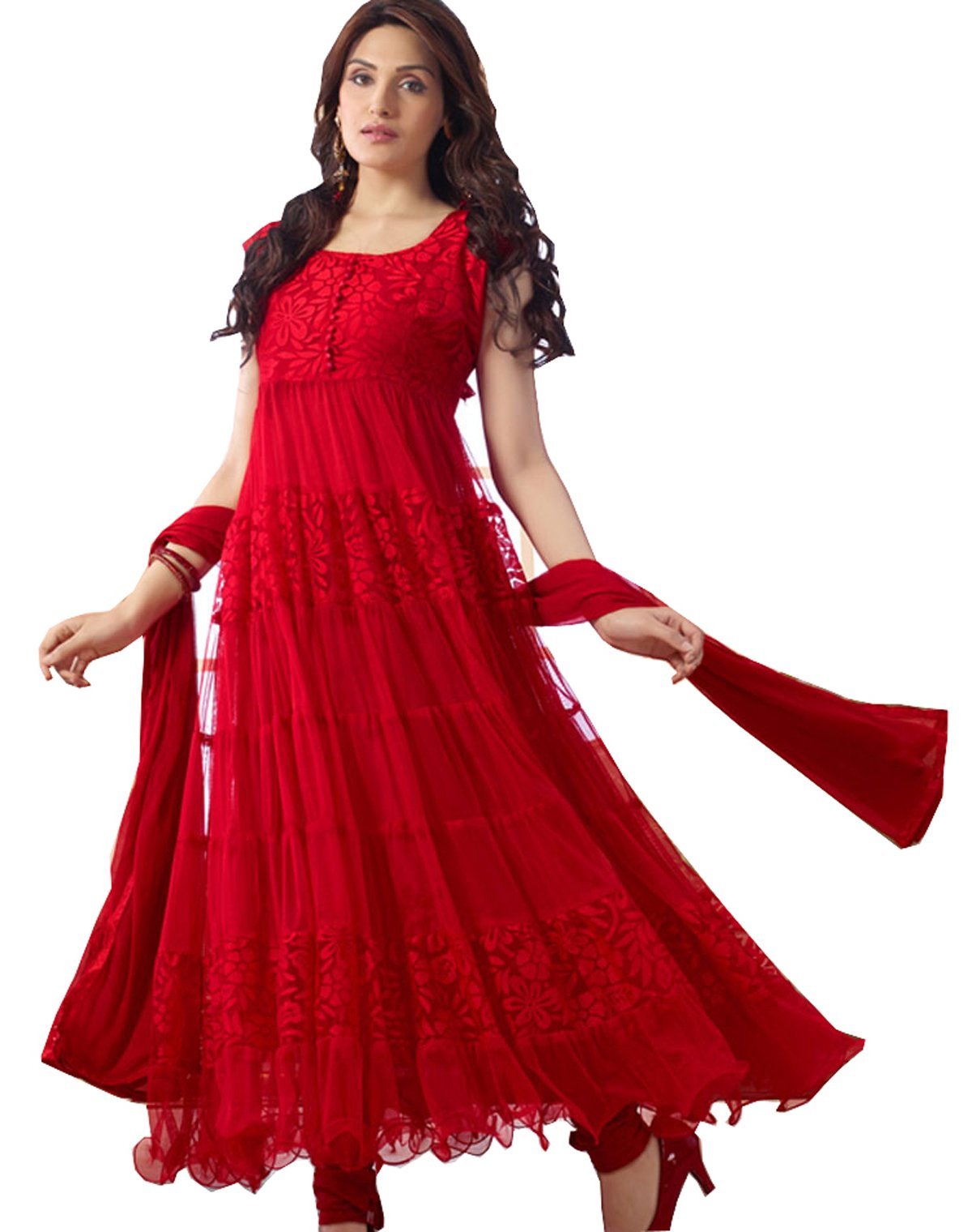 Clickedia Women Brasso and Net Beautiful long anarkali suit (R0001-Red)