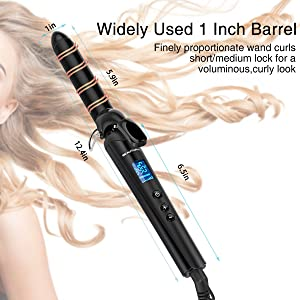 Beautural 1 Inch Curling Iron with Ceramic Coating, Hair Curling Wand with 110V-220V Worldwide Voltage, Lock Buttons Function and Protective Glove, Ha