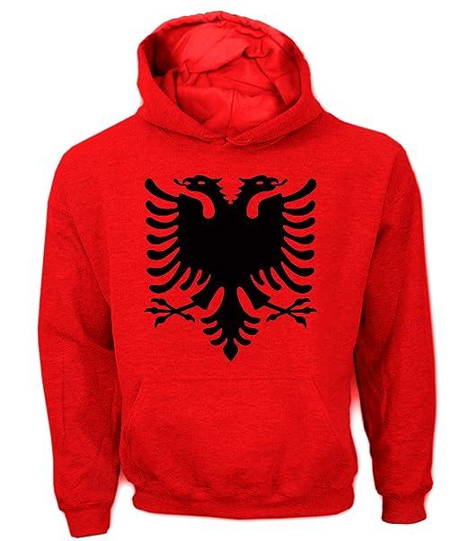 Artdiktat Herren Hoodie - Albanien Wappen Coat of Arms Pallto e Armëve, Größe L, rot