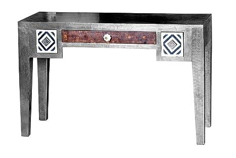 Excl. Baidani Designer Schreibtisch JAIPUR 120x48cm Mangoholz silber