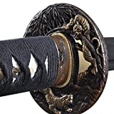 Handmade Sword - Japanese Samurai Katana Swords, Functional, Hand Forged, 1045 Carbon Steel, Heat Tempered, Full Tang, Sharp, Tiger Tsuba, Black Wooden Scabbard (Color: Tiger)