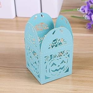 BESTOYARD 50PCS Hollow Die-Cut Pumpkin Pattern Favor Boxes Wedding Candy Boxes Wedding Gift Boxes (Sky-Blue) (Color: As Shown, Tamaño: S)