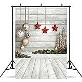SJOLOON 5X7ft Christmas Balls White Wood Floor Photography Backdrop Fabric Photo Backdrops Customized Studio Background JLT10383 (Color: 10383 5X7, Tamaño: 5X7FT)