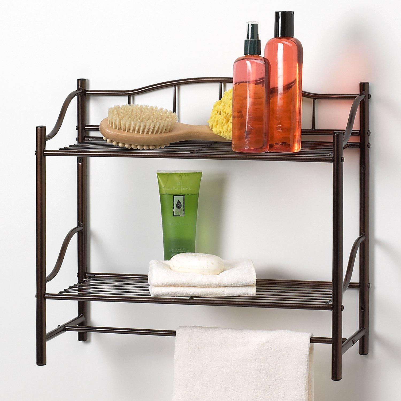 Bathroom wall mounted chrome brass towel rack shelf towel bar w hooks - Creative Bath Products Complete Collection 2 Shelf Wall Organizer With Towel Bar Oil Rubbed Bronze