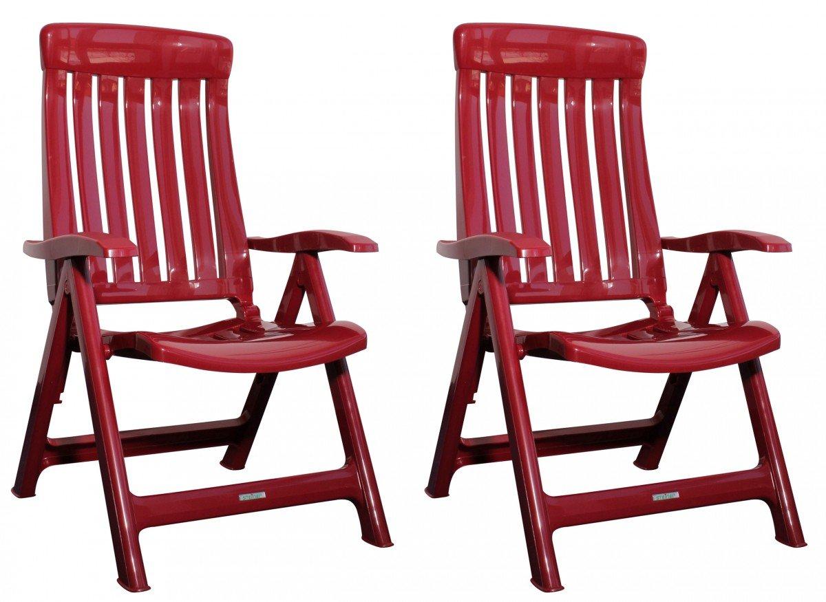 Garten Klappstühle Steiner MARINA 2er Set verstellbar Kunststoff Rot online kaufen