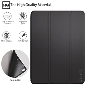 Ztotop iPad Pro 10.5 Case with Pencil Holder, Ultra Slim Soft TPU Back and Trifold Stand Cover, Auto Sleep/Wake Full Body Protective Smart Case for 2017 New Apple 10.5 Inch iPad Pro(A1701/A1709) Black
