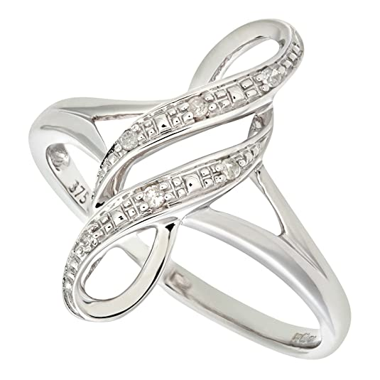 Naava Ladies 9ct White Gold Fancy Diamond Ring