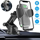 Wireless Car Charger Mount, Cshidworld Auto Clamping 10W/7.5W Qi Fast Charging Car Mount, Windshield Dashboard Air Vent Phone Holder for iPhone Xs/Xs Max/XR/X/ 8/8 Plus, Samsung Galaxy S10 /S10+/S9 (Color: Black)