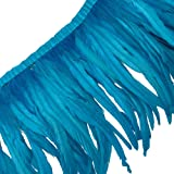 Sowder Rooster Hackle Feather Fringe Trim 10-12inch in Width Pack of 1 Yard(Turquoise) (Color: Turquoise)