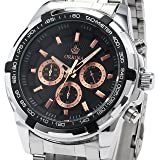 Orkina Mens 24 Hours 6 Hands Stainless Steel Men Quartz Sport Watch Fantastic