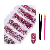 2800Pcs Top Grade SS4-SS16 Mixed Sizes Nail AB Crystal Rhinestones - Color Super Shiny Nail Art Flat Back Crystals with Wax Rhinestone Pen Tweezers for 3D Nail Art Decorations Face DIY Makeup (Red AB) (Color: Red AB, Tamaño: one size)