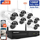 [Better than H.264]Security Camera System Wireless,SMONET 8CH 1080P H.265 Wireless CCTV Camera System with 8pcs 2.0MP HD Security Cameras and 2TB Hard Drive, P2P WiFi Security Camera System, Free APP (Color: H.265-8pcs 1080P Cams+8CH 1080P NVR(2TB HDD))