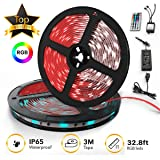 Upgraded 2019 LED Strip Lights Kit 32.8ft w/Extra Adhesive 3M Tape - 300 LEDs SMD 5050 RGB Light, 44 Key Remote Controller, Flexible Changing Multi-Color Lighting Strips for TV, Room (Tamaño: 2-Pack x 5M w/Extra Adhesive 3M Tape  32.8ft 300LEDs SMD 5050 RGB 44 Key Remote Controller, Flexibl)