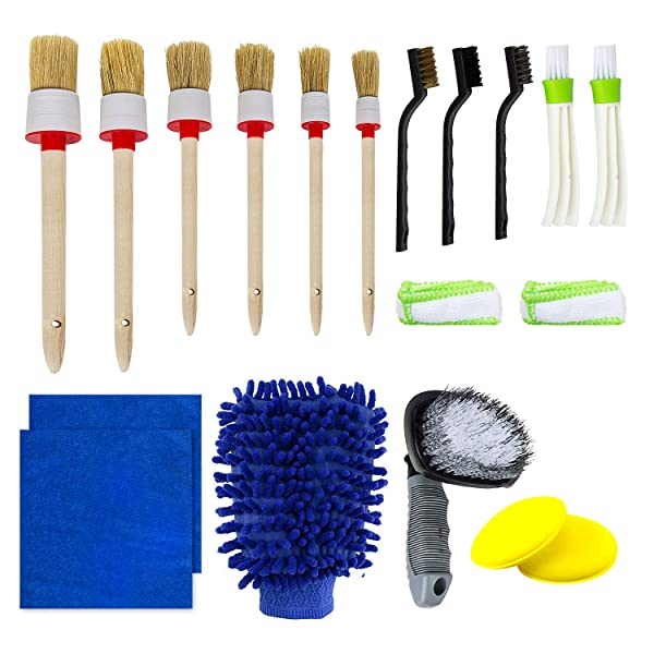 11 Pcs Auto Air Conditioner Cleaner and Brush Kit for Wheels Air Vents Leather Exterior Multi-Colored Dashboard Emblems Cleaning Interior Car Detailing Cleaning Brush Set