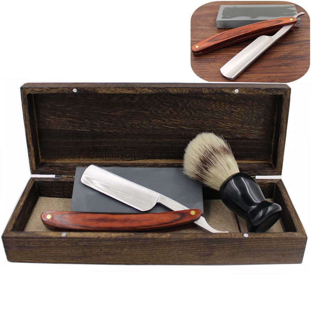 Vintage Cut Throat Straight Razor Solid Brown Wood Handle Bristle Shaving Brush Natural Whetstone and Wooden Box Set with Gift Bag 0
