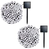 Lalapao 2 Pack Solar String Lights 72ft 22m 200 LED 8 Modes Solar Powered Xmas Outdoor Lights Waterproof Starry Christmas Fairy Lights for Indoor Gardens Homes Wedding Holiday Party (White) (Color: Solar White)