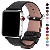 Fullmosa Compatible Apple Watch Band 38mm 40mm 42mm 44mm Calf Leather Compatible iWatch Band/Strap Compatible Apple Watch Series 4 Series 3 Series 2 Series 1,38mm 40mm Black (Color: Black+silver buckle, Tamaño: 38mm(40mm for Series 4))