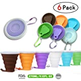 DARUNAXY Silicone Collapsible Travel Cup - 6 Pack Silicone Folding Camping Cup with Lids - Expandable Drinking Cup Set - BPA Free, Reuseable, Portable, Graduated [9.22oz] (Color: Small Size Mix Color)