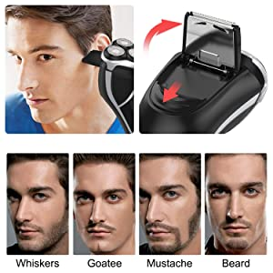 MAX-T Men's Electric Shaver - Corded and Cordless Rechargeable 3D Rotary Shaver Razor for Men with Pop-up Sideburn Trimmer Wet and Dry Painless 100-240V Black (Color: Black, Tamaño: USB Charging)