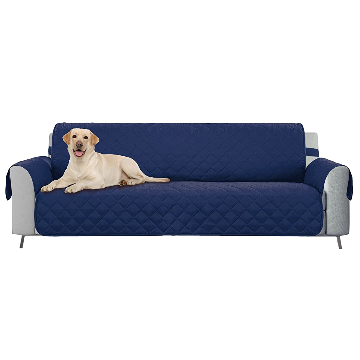 """E-Living Store Reversible Sofa/Couch Furniture Protector with 2 Inch Elastic Strap, Machine Washable, Perfect for Pet and Kids, Seat Width Up to 70"""" - Navy Blue"""