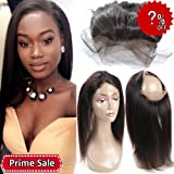 ORANGESTAR Hair Extensions Pre Plucked Natural Hairline 360 Full Lace Frontals Brazilian Straight Top Front Closure 8A Grade 150% Density Handtied (Color: straight frontal, Tamaño: 14 inch)