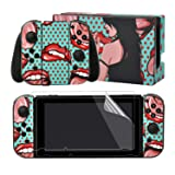 eXtremeRate Sexy Lady Print Decals Stickers Full Set Faceplate Skin +2Pcs Screen Protector for Nintendo Switch/NS Console & Joy-con Controller & Dock Protection Kit (Color: Sexy Layd)