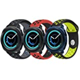 Gear Sport Band, KADES Soft Silicone Band Breathable Strap Compatible for Galaxy Watch 42mm/ Garmin VivoActive 3/ Ticwatch 2/ Ticwatch E/Amazfit Bip Smart Watch- Black/Gray, Black/Yellow, Red/Black (Color: Black/Gray, Black/Yellow, Red/Black, Tamaño: 3-Pack#1)