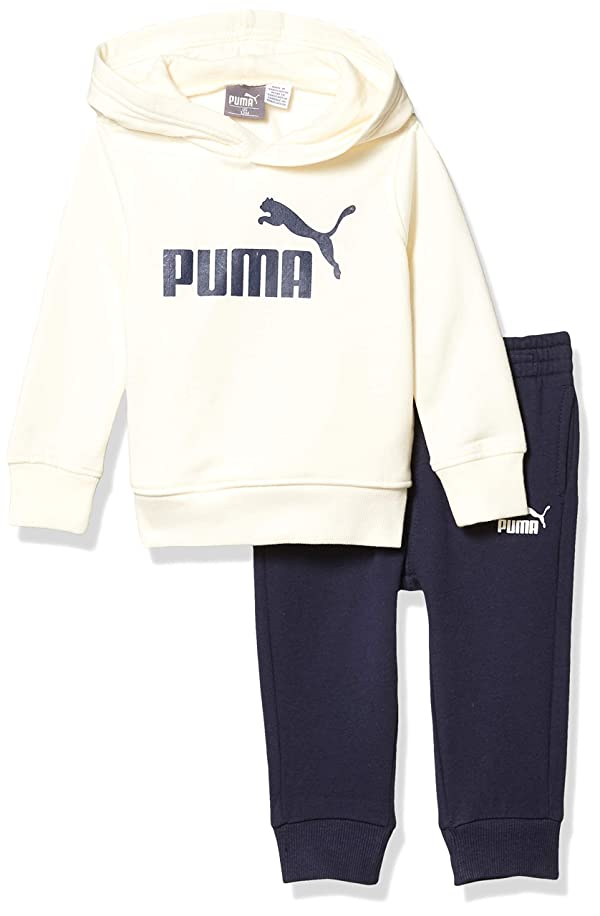 PUMA Baby Boys' Fleece Hoodie Set, Whisper White, 24M (Color: Whisper White, Tamaño: 24 Months)