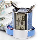 Yangfr Digital LCD Desk ALarm Clock & Mesh Rulers Pen Pencil Holder Time Temp Calendar-Black Round Cylinder Shape (Color: Blue)