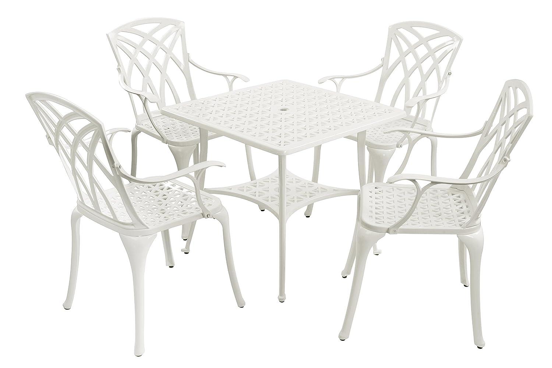 Weißer Quadratischer Gartentisch mit 4 Stühlen aus Gussaluminium - Barcelona