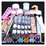 Weccomeuni Acrylic Powder Glitter Nail Brush False Finger Pump Nail Art Tools Kit Set (Color: As Show, Tamaño: One Size)