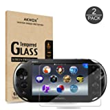 (Pack of 2) Screen Protector For PS Vita 2000, Akwox Premium HD Clear 9H Tempered Glass Screen Protective Film For Sony PlayStation Vita PSV 2000-Max Clarity And Touch Accuracy Film (Color: For PSV 2000)