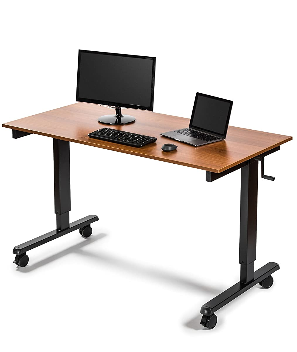 "60"" Crank Adjustable Height Standing Desk (Black Frame / Teak Top)"