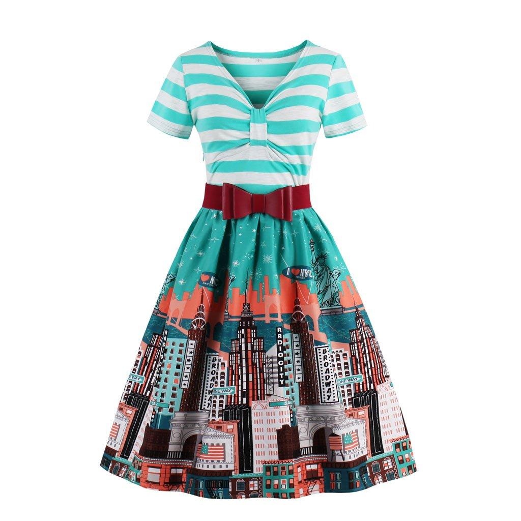 Short Sleeve V Neck Stripes Swing Dress