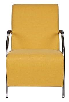 Fauteuil jaune en polyester, H90 x L56 x P85 cm -PEGANE-