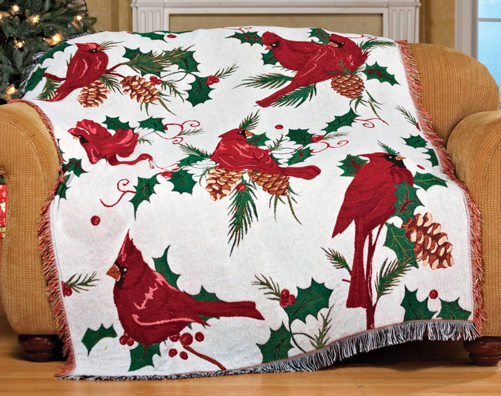 Christmas Cardinals And Holly Tapestry Throw