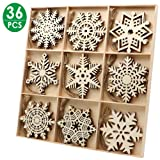 36pcs Wooden Snowflakes Ornaments, PETUOL Christmas Unfinished Wood Snowflakes Shaped Embellishments Hanging Decoration DIY Xmas Tree Hanging Decoration with Drawstrings for Christmas and DIY Craft (Color: 36PCS)
