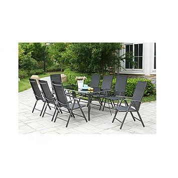 El HELENA-Juego de mesa y sillas de jardín en aluminio y textileno 8 plazas