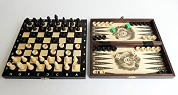 Great Travel 3 in 1 Wooden Set of Chess Backgammon & Draughts. Gorgeous Hand Crafted Game by Master Of Chess