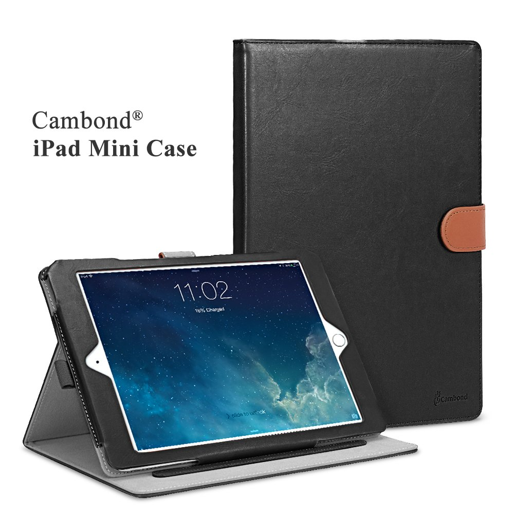 iPad Mini Case, Apple iPad Mini 2 Case, iPad Mini 3 Case Cover, Cambond Ultra Slim / Light Weight Smart Stand Case Cover with Card Slots and Stylus Holder, Protective Premium PU Leather (Black)
