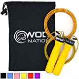 WOD Nation Attack Speed Jump Rope by - Adjustable Jumping Ropes - Unique 2 Cable Skipping Workout System - 1 Heavy and 1 Light 11' Cable - Perfect for Double Unders - Fits Men and Women (Color: Yellow)