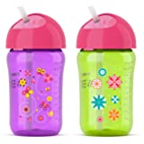 Philips Avent My Twist N Sip Straw Cup, 12 Ounce, Pink/Purple/Green, Stage 3 (Tamaño: 12 Ounce)