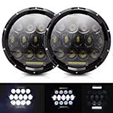 AUSI Pair 7 Inch Round Led Headlight Hi/lo Beam with White DRL/Amber Turn Signal for Jeep Wrangler JK TJ LJ CJ Hummer H1&H2 Dodge Eagle Ford (2PCS 75W)